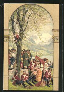 Künstler-AK Schweizer Bundesfeier 1918, Soldaten in historischer Uniform, Ganzsache