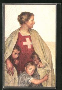 Künstler-AK Schweizer Bundesfeier 1917, Für das Schweizer Rote-Kreuz, Ganzsache