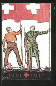 Künstler-AK Schweizer Bundesfeier 1917, Soldaten mit Gewehr, Bajonett und Fahnen, Ganzsache