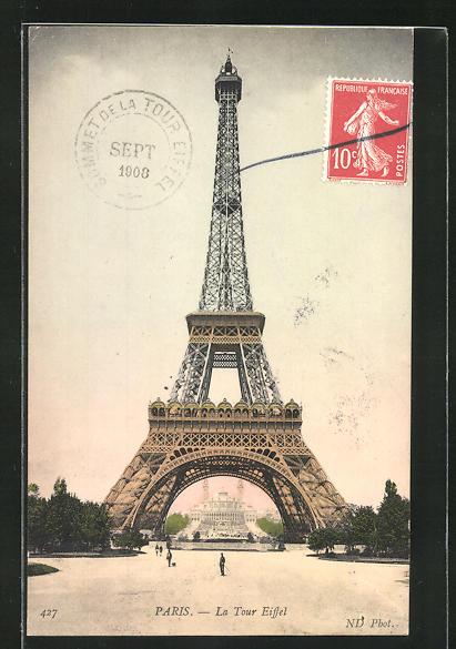 AK Paris, La Tour Eiffel, Eiffelturm, Blick zum Palais du Trocadéro