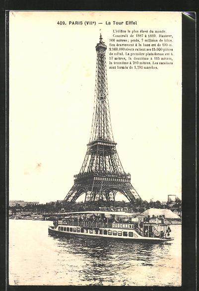 AK Paris, La Tour Eiffel, Eiffelturm, Dampfer auf der Seine