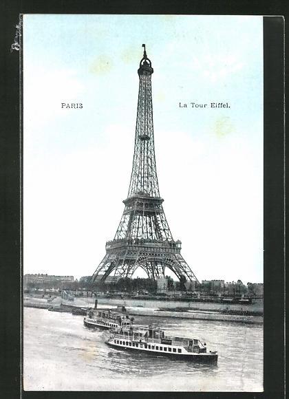 AK Paris, La Tour Eiffel, Eiffelturm und Dampfer auf der Seine