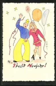 Künstler-AK Handgemalt: Mann und Frau mit Luftballon, Neujahrsgruss