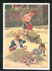AK Schweizer Bundesfeier 1937, Für das Schweizerische Rote Kreuz, Kinder im Sandkasten