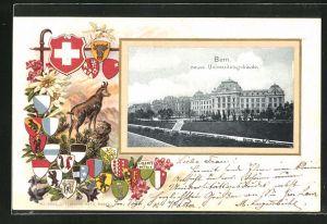 Präge-AK Bern, neues Universitätsgebäude und Wappen
