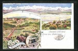 Lithographie Leubringen-Evilard, Alpenpanorama, Ortsansicht