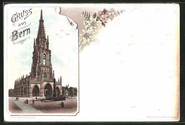 Lithographie Bern, Ausblick auf die Kirche