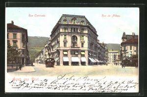 AK Biel / Bienne, Rue Centrale et Rue de Nidau