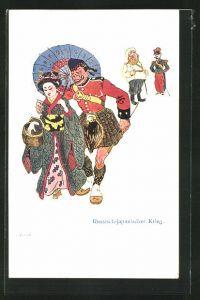 AK Schottischer Soldat geht mit einer japanischen Geisha spazieren, Russisch-Japanischer Krieg