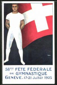 AK Geneve, Turnfest 1925, Turner vor Schweizer Flagge