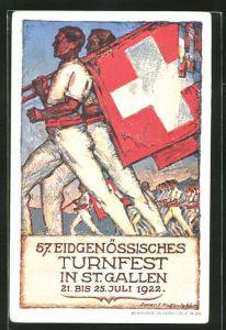 AK St. Gallen, Turnfest 1922, Turner mit Schweizer Flagge