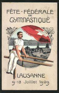 Künstler-AK Lausanne, Fete Fédérale de Gymnastique 1909, Turner am Barren