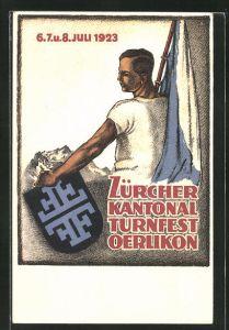 Künstler-AK Oerlikon, Zürcher Kantonal Turnfest 1923, Turner mit Fahne