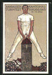 Künstler-AK Brugg, Aargauisches Kantonal Turnfest 1913, Turner beim Bocksprung über einen Turm