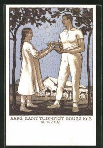 Künstler-AK Brugg, Aargauisches Kantonal Turnfest 1913, Mädchen steckt einem Turner Blumen an den Hut