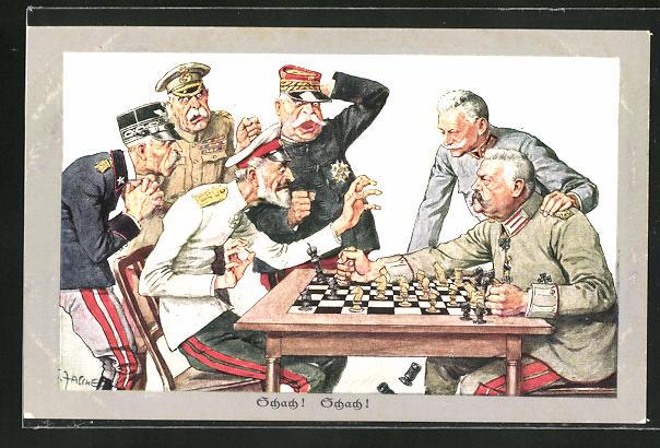 Künstler-AK Theo Zasche: Paul von Hindenburg setzt seine Feinde Schachmatt