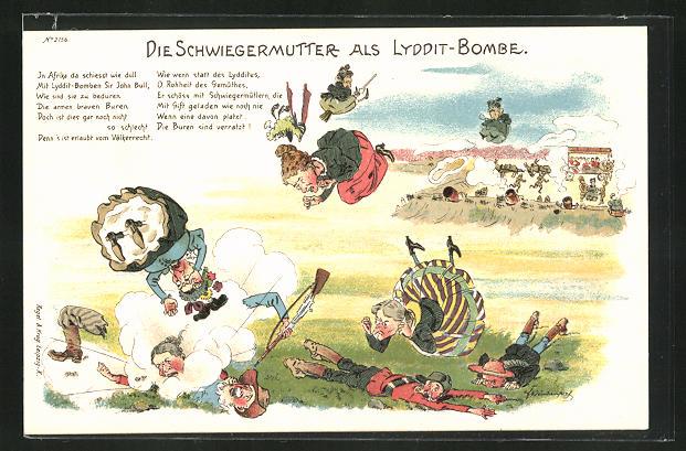 Lithographie Die Schwiegermutter als Lyddit-Bombe, Burenkrieg