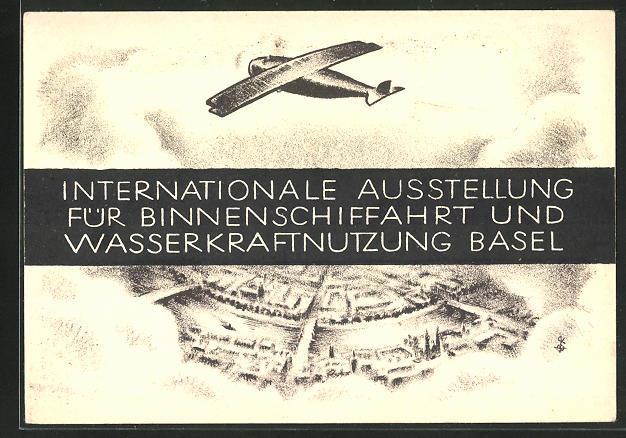 Künstler-AK Basel, Internationale Ausstellung für Binnenschiffahrt und Wasserkraftnutzung, Flugzeug