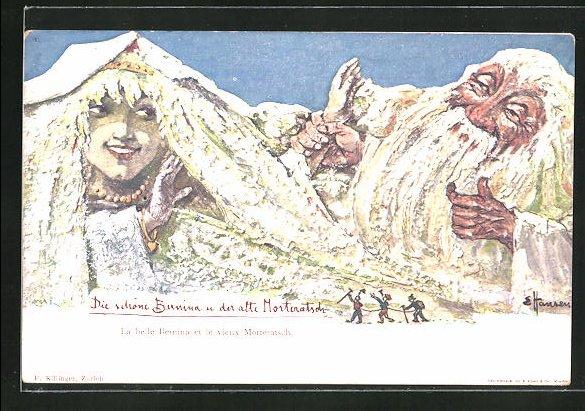 Künstler-AK sign. E. Hansen / Emil Nolde: Die schöne Bernina und der alte Morteratsch, Berg mit Gesicht / Berggesichter