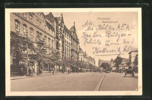AK Kattowitz, Bahnhofstrasse mit Passanten