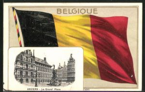Präge-AK Anvers, La Grand Place und Nationalflagge von Belgien