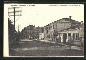 AK Kowel, Ortsansicht mit Alexander II. Strasse