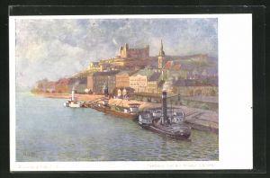AK Pressburg / Pozsony, Blick von der Brücke, a hidrol nezve