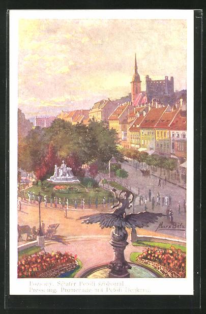 Künstler-AK Pressburg / Pozsony, Promenade mit Petöfi Denkmal, Setater Petöfi szoborral