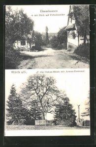 AK Wörth a. S., Mac-Mahon-Baum mit Armee-Denkmal, Elsasshausen mit Blick auf Fröschweiler