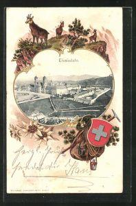 Passepartout-Präge-Lithographie Einsiedeln, Blick auf das Kloster mit Wappen und Gemsen