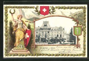 Passepartout-Lithographie St. Gallen, Union und Frau mit Kranz und Wappen