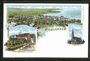 Lithographie Rorschach, Totalansicht, Jugendkirche, Restaurant & Gartenwirtschaft z. Signal