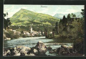AK Nesslau, Ortspartie mit Kirche vom Flussufer aus gesehen
