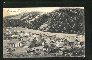 AK Trubschachen, Ortspartie mit Kirche aus der Vogelschau