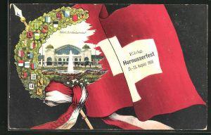 AK Basel, Eidg. Hornusserfest 1909, Sport, Blick auf den Bundesbahnhof, Kranz mit Wappen
