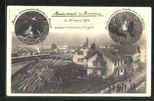 AK Porrentruy, Bombardement du 31 mars 1916, Partie a la Gare, Partie am Bahnhof