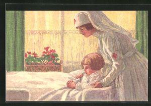 AK Schweizer Bundesfeier 1921, Schwester des Roten Kreuzes versorgt ein Kind, Ganzsache