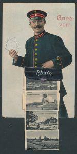 AK Mainz, Briefträger mit Ansichten in der Tasche, Rheinquai