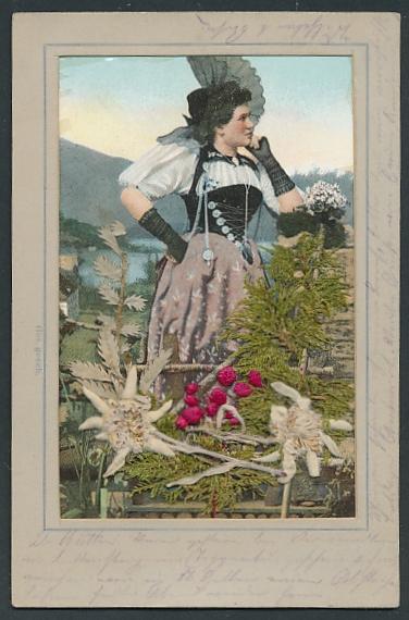 Trockenblumen-AK Älplerin in Tracht, getrocknetes Edelweiss