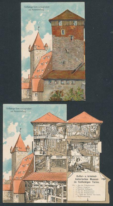 Mechanische-AK Nürnberg, Fünfeckiger Turm mit Luginsland und Kaiserstallung, Museum