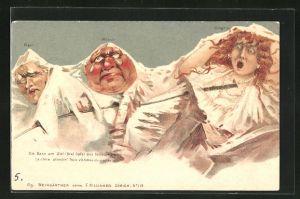 Künstler-AK Killinger Nr. 115: Eiger, Mönch und Jungfrau mit Gesicht, Berg mit Gesicht / Berggesichter