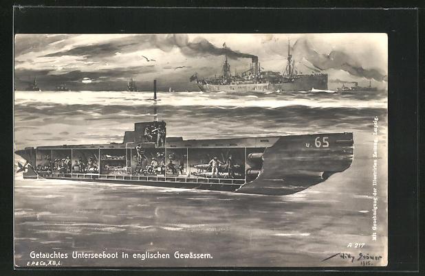 Künstler-AK Willy Stoewer: Getauchtes U-Boot in englischen Gewässern, Kriegsschiffe an der Oberfläche
