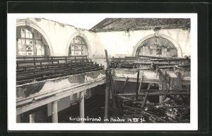 Foto-AK Heiden, Inneres der Kirche nach dem Brand 1936
