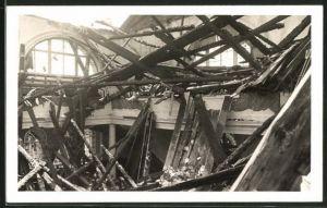 Foto-AK Heiden, Trümmer der Kirche nach dem Brand 1936