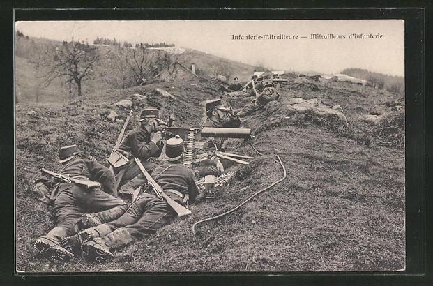 AK Schweizer Infanterie-Mitrailleure in Stellung
