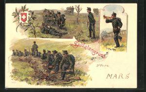 Lithographie Schweizer Soldaten in Uniform und Trompeter