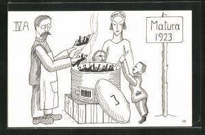 AK Schüler im Kochtopf, Matura 1923
