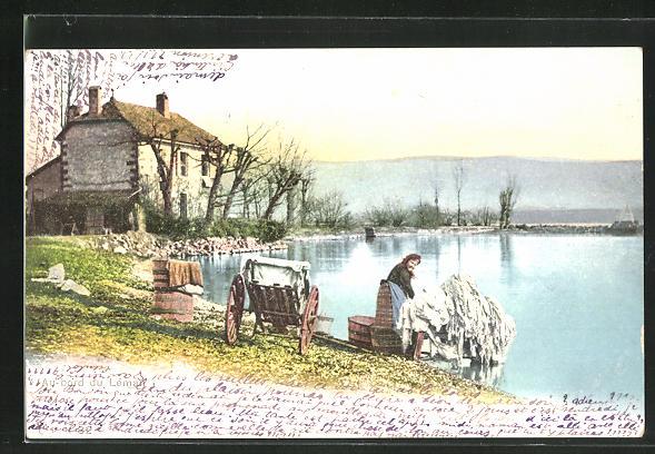 AK Waschfrau bei der Arbeit am Fluss