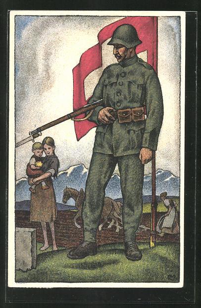 Künstler-AK Schweizer Soldat in Uniform mit Stahlhelm, Bajonett und Fahne, Nationalspende