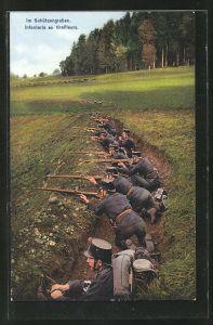 AK Grenzbesetzung 1914, schweizer Soldaten im Schützengraben